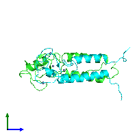 PDB 1jm7 coloured by chain and viewed from the side.