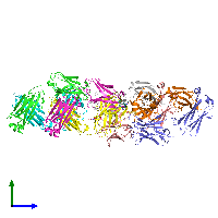PDB 1jnh coloured by chain and viewed from the side.