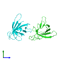 PDB 1jnp coloured by chain and viewed from the side.