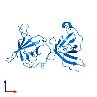 PDB 1jnp contains 2 copies of T-cell leukemia/lymphoma protein 1A in assembly 1. This protein is highlighted and viewed from the front.