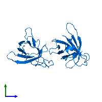 PDB 1jnp contains 2 copies of T-cell leukemia/lymphoma protein 1A in assembly 1. This protein is highlighted and viewed from the side.