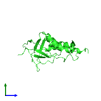 PDB 1jor coloured by chain and viewed from the side.