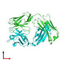 PDB 1jpt coloured by chain and viewed from the front.