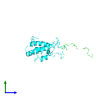 PDB 1jsp coloured by chain and viewed from the side.