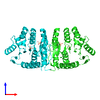 PDB 1jxh coloured by chain and viewed from the front.