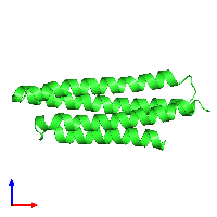 PDB 1k40 coloured by chain and viewed from the front.