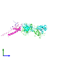 PDB 1k4d coloured by chain and viewed from the side.