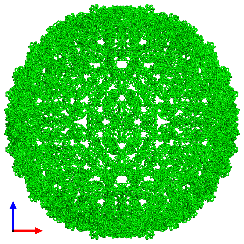 <div class='caption-body'><ul class ='image_legend_ul'> 180-meric assembly 1 of PDB entry 1k4r coloured by chemically distinct molecules and viewed from the front. This assembly contains:<li class ='image_legend_li'>180 copies of Core protein</li></ul></div>