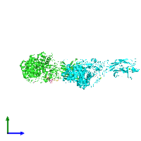 PDB 1k72 coloured by chain and viewed from the side.