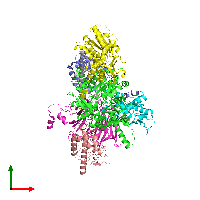 PDB 1k8k coloured by chain and viewed from the top.