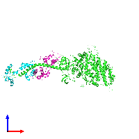 PDB 1kk7 coloured by chain and viewed from the front.