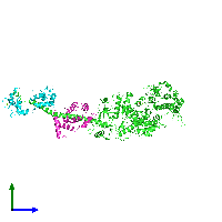 PDB 1kk7 coloured by chain and viewed from the side.