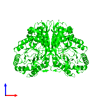 Dimeric assembly 1 of PDB entry 1kko coloured by chemically distinct molecules and viewed from the front.