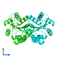 PDB 1knq coloured by chain and viewed from the side.