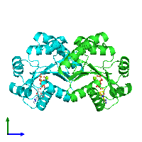 PDB 1ko5 coloured by chain and viewed from the side.