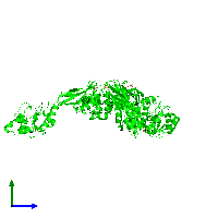 Trimeric assembly 1 of PDB entry 1ko7 coloured by chemically distinct molecules and viewed from the side.