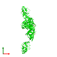 Trimeric assembly 1 of PDB entry 1ko7 coloured by chemically distinct molecules and viewed from the top.