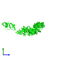 Trimeric assembly 2 of PDB entry 1ko7 coloured by chemically distinct molecules and viewed from the side.