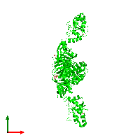 Trimeric assembly 2 of PDB entry 1ko7 coloured by chemically distinct molecules and viewed from the top.