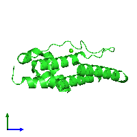 PDB 1kp4 coloured by chain and viewed from the side.