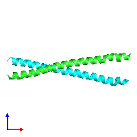 PDB 1kql coloured by chain and viewed from the front.