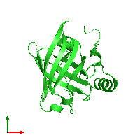 PDB 1kxo coloured by chain and viewed from the top.