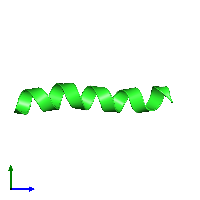 PDB 1kzs coloured by chain and viewed from the side.