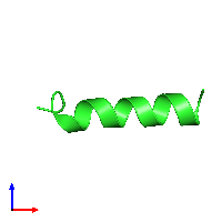 PDB 1kzt coloured by chain and viewed from the front.