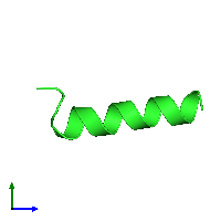 PDB 1kzt coloured by chain and viewed from the side.