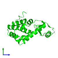 Monomeric assembly 1 of PDB entry 1l01 coloured by chemically distinct molecules and viewed from the side.