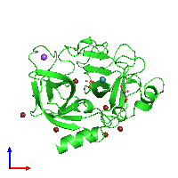 PDB 1l1g coloured by chain and viewed from the front.