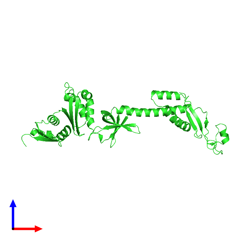 <div class='caption-body'><ul class ='image_legend_ul'>The deposited structure of PDB entry 1l2f coloured by chain and viewed from the front. The entry contains: <li class ='image_legend_li'>1 copy of Transcription termination/antitermination protein NusA</li><li class ='image_legend_li'>There are no non-polymeric molecules</li></ul></li></ul></li></div>