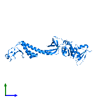 PDB 1l2f contains 1 copy of Transcription termination/antitermination protein NusA in assembly 1. This protein is highlighted and viewed from the side.