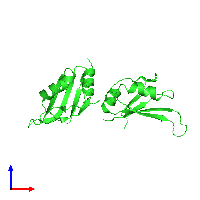 PDB 1l3k coloured by chain and viewed from the front.