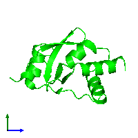 Monomeric assembly 1 of PDB entry 1l8r coloured by chemically distinct molecules and viewed from the side.