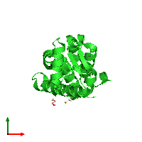 PDB 1li2 coloured by chain and viewed from the top.