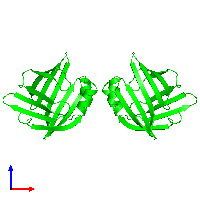 Dimeric assembly 1 of PDB entry 1lib coloured by chemically distinct molecules and viewed from the front.