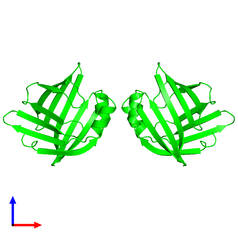 <div class='caption-body'><ul class ='image_legend_ul'> Dimeric assembly 1 of PDB entry 1lib coloured by chemically distinct molecules and viewed from the front. This assembly contains:<li class ='image_legend_li'>2 copies of ADIPOCYTE LIPID-BINDING PROTEIN</li></ul></div>