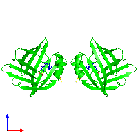 Dimeric assembly 1 of PDB entry 1lic coloured by chemically distinct molecules and viewed from the front.