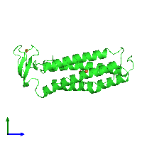 PDB 1lkm coloured by chain and viewed from the side.