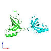 PDB 1luz coloured by chain and viewed from the front.