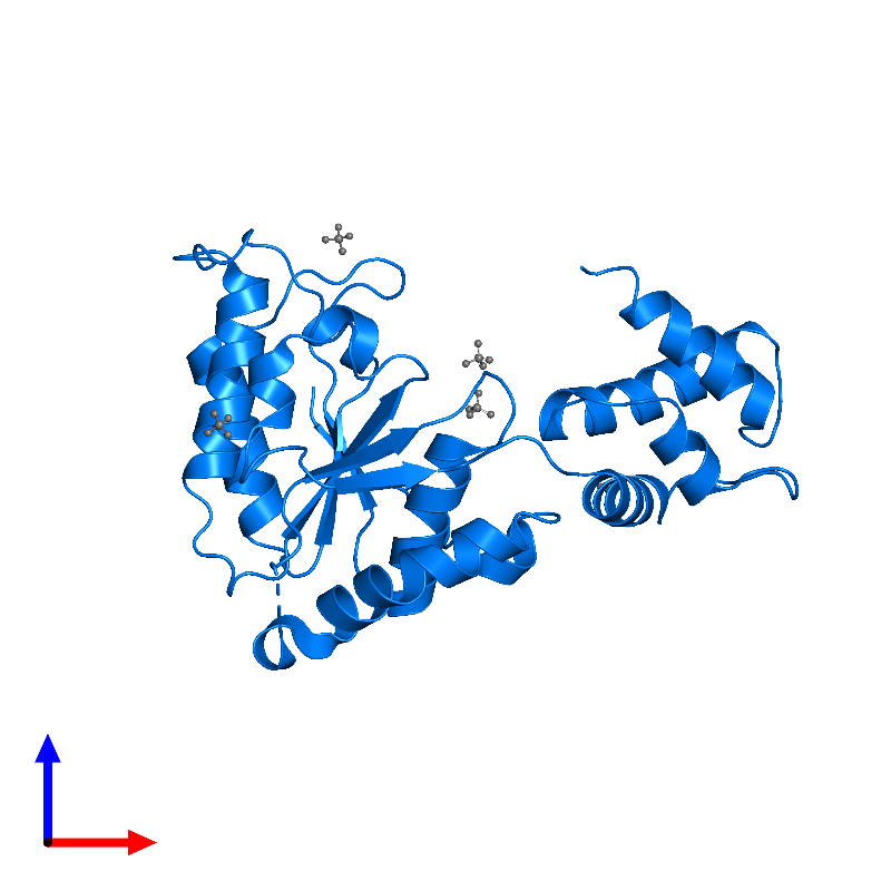 <div class='caption-body'>PDB entry 1lv7 contains 1 copy of ATP-dependent zinc metalloprotease FtsH in assembly 1. This protein is highlighted and viewed from the front.</div>