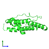 PDB 1lwb coloured by chain and viewed from the side.