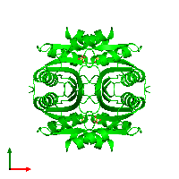 Tetrameric assembly 1 of PDB entry 1lxj coloured by chemically distinct molecules and viewed from the top.