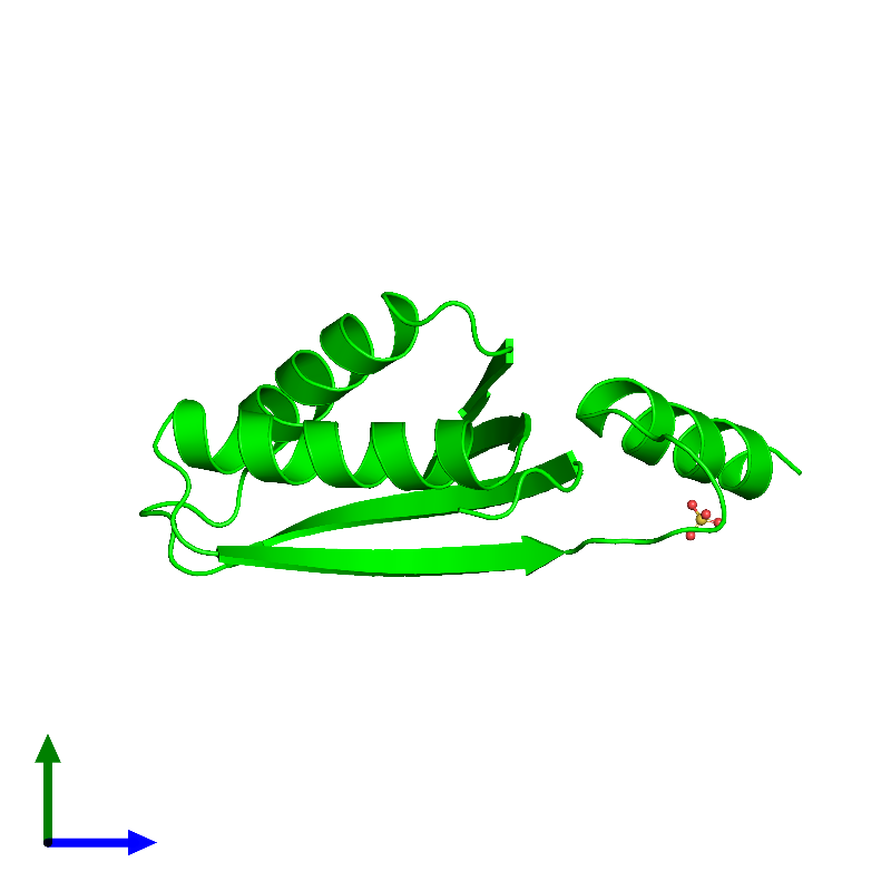 <div class='caption-body'><ul class ='image_legend_ul'>The deposited structure of PDB entry 1lxj coloured by chemically distinct molecules and viewed from the side. The entry contains: <li class ='image_legend_li'>1 copy of HYPOTHETICAL 11.5KDA PROTEIN IN HTB2-NTH2 INTERGENIC REGION</li><li class ='image_legend_li'>There is 1 non-polymeric molecule<ul class ='image_legend_ul'><li class ='image_legend_li'>1 copy of SULFATE ION</li></ul></li></div>