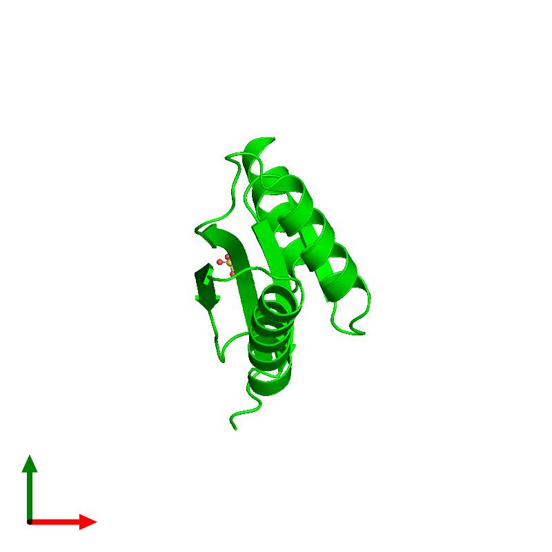 <div class='caption-body'><ul class ='image_legend_ul'>The deposited structure of PDB entry 1lxj coloured by chemically distinct molecules and viewed from the top. The entry contains: <li class ='image_legend_li'>1 copy of HYPOTHETICAL 11.5KDA PROTEIN IN HTB2-NTH2 INTERGENIC REGION</li><li class ='image_legend_li'>There is 1 non-polymeric molecule<ul class ='image_legend_ul'><li class ='image_legend_li'>1 copy of SULFATE ION</li></ul></li></div>