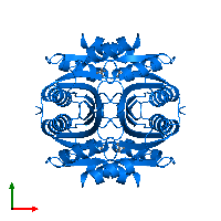 PDB 1lxj contains 4 copies of UPF0045 protein ECM15 in assembly 1. This protein is highlighted and viewed from the top.