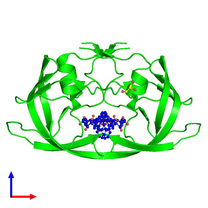 <div class='caption-body'><ul class ='image_legend_ul'>The deposited structure of PDB entry 1m0b coloured by chemically distinct molecules and viewed from the front. The entry contains: <li class ='image_legend_li'>2 copies of Protease</li><li class ='image_legend_li'>2 non-polymeric entities<ul class ='image_legend_ul'><li class ='image_legend_li'>1 copy of N-{(3S)-3-[(tert-butoxycarbonyl)amino]-4-phenylbutyl}-L-phenylalanyl-L-alpha-glutamyl-L-phenylalaninamide</li><li class ='image_legend_li'>1 copy of GLYCEROL</li></ul></li></div>