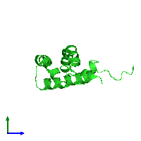 PDB 1m12 coloured by chain and viewed from the side.