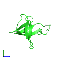 PDB 1m3b coloured by chain and viewed from the side.